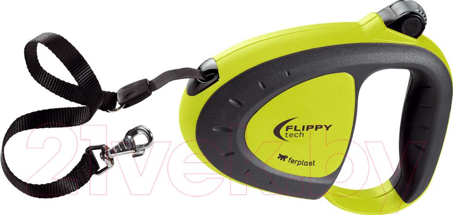 Купить Поводок-рулетка Ferplast, Flippy Tech Tape Medium (3м, зеленый), Италия, пластик