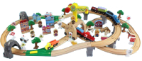 Железная дорога игрушечная Edwone Двухуровневая. Поезд с вагоном на батарейках / 17P00 (110 предметов) -