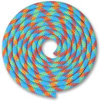 Скакалка для художественной гимнастики Indigo SM-123 (3м, голубой/коралловый/лимонный) -