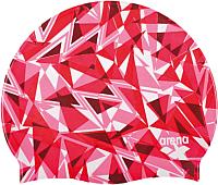 Шапочка для плавания ARENA Print 2 1E368 470 (shattered Ggass, fluo red) -