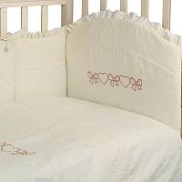 Комплект в кроватку Альма-Няня Пломбир 6 с вышивкой (бязь/ажур, молочный) -