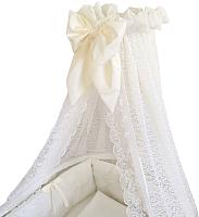 Балдахин на кроватку Альма-Няня Ваниль кружево (гипюр, молочный) -