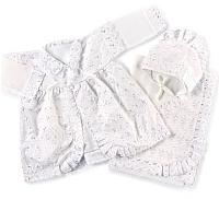 Набор для крещения Осьминожка Для девочки (платье/уголок 80x80/чепчик, хлопок 100) -
