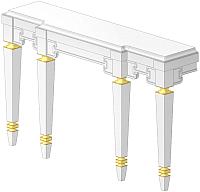 Туалетный столик Belux Кастилия НК170-03 (110, белый глянец/поталь золото) -