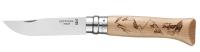 Нож туристический Opinel №8 Alpine Adventures / 002186 (нержавеющая сталь, дуб, гравировка пеший туризм) -