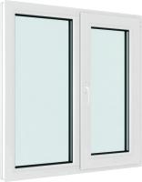 Окно ПВХ Brusbox Elementis Kale Двухстворчатое Поворотно-откидное правое 3 стекла (1300x1300x70) -