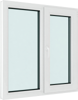 Окно ПВХ Brusbox Elementis Kale Двухстворчатое Поворотно-откидное правое 3 стекла (1350x1350x70) -
