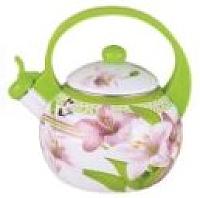 Чайник со свистком KING Hoff KH-3700 (салатовый с лилиями) -