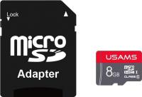 Карта памяти Usams MicroSDHC 8Gb Class 10 + SD адаптер / ZB116TF01 (красный) -