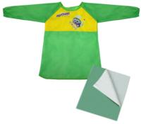 Фартук для творчества Юнландия Накидка с рукавами для труда / 228357 (зеленый, с клеенкой) -