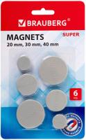 Набор магнитов Brauberg Super / 237481 (6шт) -