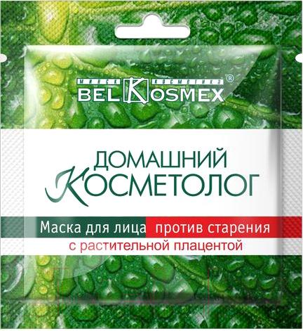 Купить Маска для лица тканевая BelKosmex, Домашний косметолог против старения с растительной плацентой (26г), Беларусь, Домашний косметолог (BelKosmex)