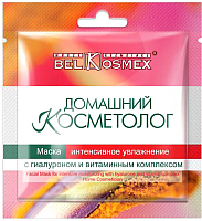 Маска для лица тканевая BelKosmex Домашний косметолог с гиалуроном и витаминным комплексом (26г) -