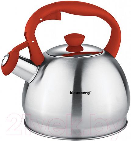 Купить Чайник со свистком Klausberg, KB-7043 (красный), Китай, нержавеющая сталь