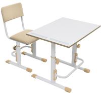 Парта+стул Polini Kids Simple / 0002441.47 (белый/макиато) -