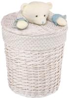 Корзина для белья Natural House Медвежонок голубой 370x370x400 / EW-33 M (белый) -