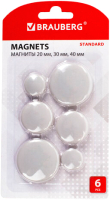 Набор магнитов Brauberg Standard / 237473 (6шт) -