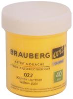 Гуашь Brauberg Art Classic / 191575 (желтая светлая) -