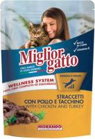 Корм для кошек Miglior Gatto Strips Chicken and Turkey (100г) -