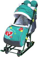 Санки-коляска Ника Детям 7-6 (лисичка, изумрудный) -