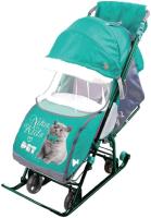 Санки-коляска Ника Наши Детки 4-1 (котенок, изумрудный) -