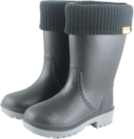 Резиновые сапоги детские Alisa Line Win 801 утепленные (р-р 34-35, черный/серый) -