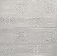 Панель ПВХ листовая Grace Самоклеющаяся Плитка белая с узорами (700x700мм) -