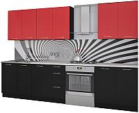Готовая кухня Артём-Мебель Оля 2.2 ДСП (красный/черный) -