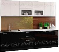 Готовая кухня Артём-Мебель Адель со стеклом 2.6 МДФ/глянец (глянец черный/белый) -