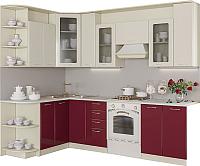 Готовая кухня Артём-Мебель Виола со стеклом 2.6 МДФ/глянец (бордовый/ваниль глянец) -