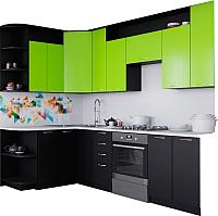 Готовая кухня Артём-Мебель Виола 2.6 ДСП (лайм/черный) -