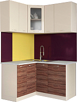 Готовая кухня Артём-Мебель Жасмин со стеклом МДФ (слива/ваниль) -