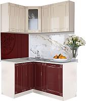 Готовая кухня Артём-Мебель Жасмин со стеклом МДФ/глянец (бордовый/ваниль) -
