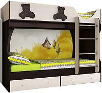 Двухъярусная кровать Артём-Мебель СН 108.01 (венге-ваниль/мишутка) -
