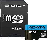 Карта памяти A-data Premier microSDXC 64GB + адаптер (AUSDX64GUICL10A1-RA1) -