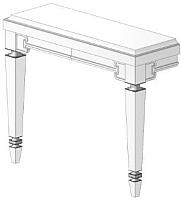 Консоль для ванной Belux Кастилия НК120-02 (111, белый глянец/поталь серебристый) -
