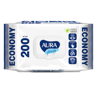 Влажные салфетки Aura Family для всей семьи с крышкой (200шт) -