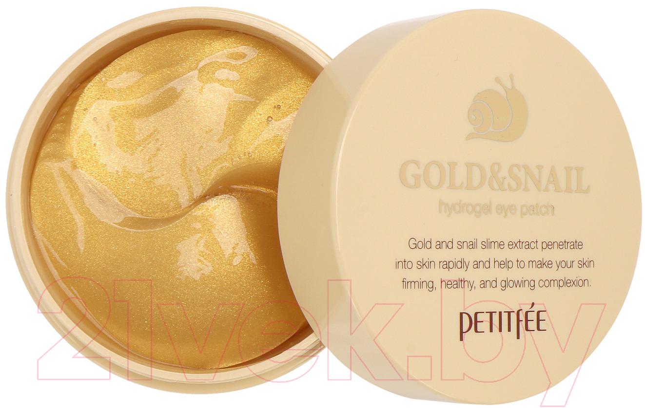 Купить Патчи под глаза Petitfee, С муцином улитки и коллоидным золотом, Южная корея