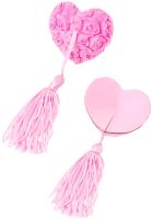 Набор пэстисов Erolanta Rose в форме сердец с кисточками / 790064 (розовый) -