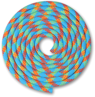 Скакалка для художественной гимнастики Indigo SM-359 (2.5м, голубой/коралловый/лимонный) -