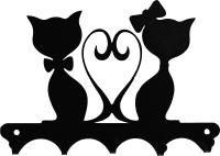 Ключница настенная KN Влюбленные коты (черный) -