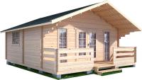 Дачный дом Лесково ДСК 6.0x6.0 (с навесом и крыльцом) -