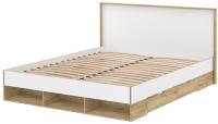 Двуспальная кровать Интерлиния SC-К160 160x200 (дуб золотой/белый платинум) -