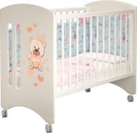 Детская кровать-трансформер MLK Софи (слоновая кость/мишка) -