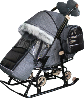 Санки-коляска GalaXy Глори Глосс (черный/крупный лен) -