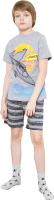 Пижама детская Mark Formelle 563318 (р.104-56, серый меланж/полоска хаки) -