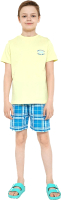 Пижама детская Mark Formelle 563318 (р.104-56, лайм/клетка на синем) -