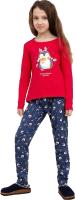 Пижама детская Mark Formelle 567720 (р.104-56, красный/пингвины на серо-синем) -