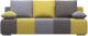 Диван Woodcraft Плей Пэчворк (светло-серый велюр/горчич. велюр/светло-корич. велюр) -