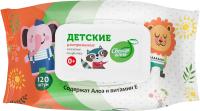 Влажные салфетки детские Свежая Нота Детские с алоэ и витамином Е с клапаном (120шт) -